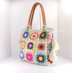 Crochet granny squares handbag with tassels and genuine leather handles, Crochet Bag, Tote Bag, Boho Style Bag, Summer Bag – Granny Square
