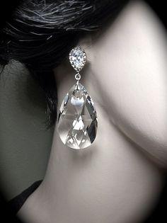 Crystal earrings  Large  28mm  Swarovski  by QueenMeJewelryLLC, $39.99