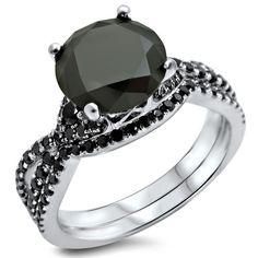 Noori 18k White Gold 2 3/5ct TDW Certified Black Diamond Engagement Ring Bridal Set