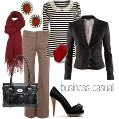Black blazer, Collared striped top, beige slacks, red scarf