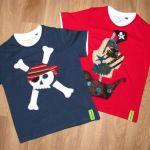 Camisetas tela y fieltro. Calvera pirata y Al abordaje!!