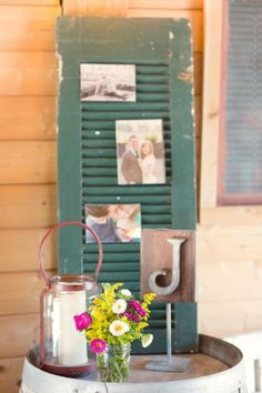 Rustic/Country wedding idea ~ use old shutters to share photos