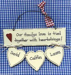 Personalised Family Heart Strings Keepsake Family of 3