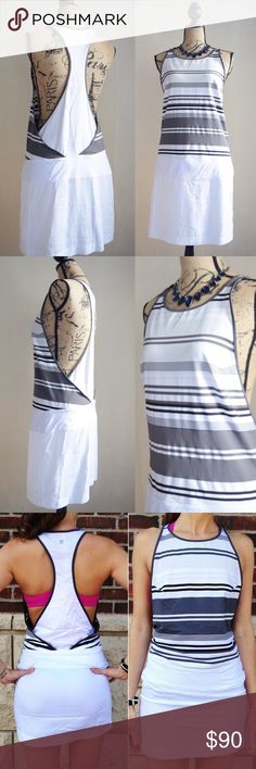 """Lululemon Blissed Out Dress Beautiful stripe white dress by Lululemon, size tag has been removed: approximately a Medium or Lulu 8. The chest is 15.5"""" across, the waist is 34"""", and the length is 34"""". Logo on back racerback area. Great condition! lululemon athletica Dresses Mini"""