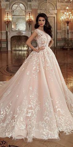 30 Fall Wedding Dresses With Charm ❤️ fall wedding dresses ball gown lace floral blush naviblue #weddingforward #wedding #bride