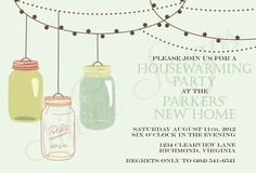 Vintage Hanging Mason Jars Invitation