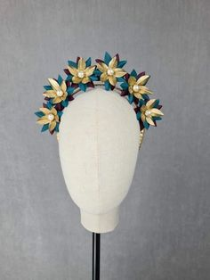 MBM2311 – Millinery By Mel Leather Design, All Design, Burgundy, Teal, Creative, Gold, Wine Red Hair, Amaranth Grain, Turquoise