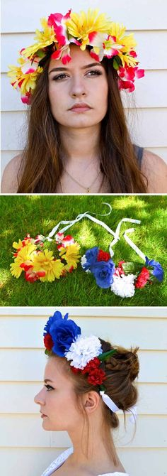 DIY Flower Crown | 19 Cool DIY Photo Booth Props | How To Make Fun and Creative Photo Booth's For Birthday, Graduation, Wedding, Baby Shower,  Summer Parties and more! http://diyready.com/19-cool-diy-photo-booth-props/