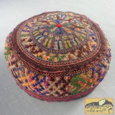 Vintage Tribal Hat  Embroidered on Cotton Hat by AfghanTribalArts, $48.00