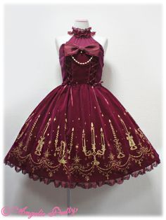 Radiant Candlelight Halter Neck JSK (2013) in wine by Angelic Pretty