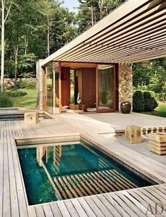 Pool House Plans - Browse swimming pool plans to catch inspiration for your personal courtyard oasis. Determine pool deck ideas and remodeling. Pool House Designs, Swimming Pool Designs, Pergola Designs, Jacuzzi Outdoor, Outdoor Swimming Pool, Swimming Pools, Outdoor Spa, Architectural Digest, Small Pool Design