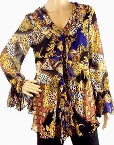 Antthony Original Women's Size 10 Multi-Color Ruffles Long Sleeve Poets Blouse #AntthonyOriginal #Blouse #Casual