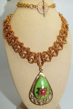 Green Turquoise & Brass pendant on Chain Maille Necklace, Hand-made in Jewellery & Watches, Handcrafted Jewellery, Necklaces & Pendants   eBay