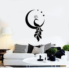 Vinyl Wall Decal Peacock Bird Crescent Stars Decor Room Home Interior — Simple Wall Paintings, Creative Wall Painting, Wall Painting Decor, Wall Stickers Home Decor, Home Decor Wall Art, Diy Wall Decor, Room Decor, Vinyl Wall Decals, Bedroom Stickers