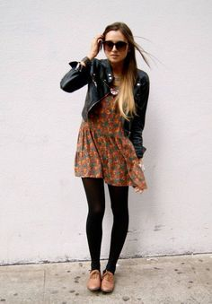 Floral dress with tights and a leather jacket for a fall look. Oxfords also are fab.