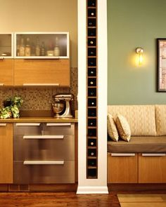 Wine wall. Great use of wasted space