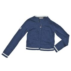 Navy Cardigan designed by Jean Bourget. Features logo on sleeve and hidden front closures.