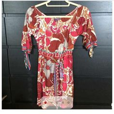 Hale Bob top/ dress Beautiful top/dress which ever way you want to wear it with 3/4 sleeves and tied around bust area- size medium Hale Bob Tops