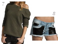 insight-olive-green-knit-off-the-shoulder-sweater-siwy-black-leather-denim-cut-off-shorts