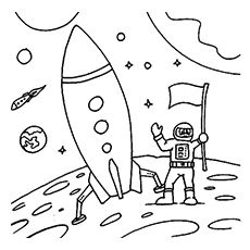 astronaut ready to travel in rocket to space coloring page - Colouring Sheets For Toddlers