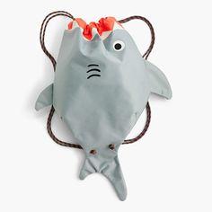 Kids' glow-in-the-dark shark drawstring backpack