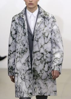 Perhaps this for the opening- Train Conductor Duster with a Matching Conductor Hat? Amazing marble print jacket on the runway ! fashion <3 art <3 design