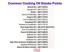 Cooking Oil Smoke Points Chart In Fahrenheit and Celsius Smoker Cooking, Cooking Oil, Canola Oil, Avocado Oil, Granola, Food Hacks, Peppermint, Olive Oil, Coconut Oil