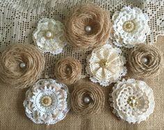 5 shabby chic vintage lace handmade flowers от PinKyJubb на Etsy