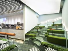 The New HEYTEA Bakery Has Tiered Seating Inspired By Tea Plantations Nota Architects has recently completed the HEYTEA Bakery in Hangzhou China that draws inspiration from tea plantations found in the nbsp hellip Tiered Seating, Soft Seating, Outdoor Seating, Outdoor Cafe, Hidden Lighting, W Hotel, Hotel Lobby, Black Tiles, Hangzhou