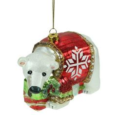 Glass Polar Bear Christmas Tree Decoration (9cm) by Gisela Graham
