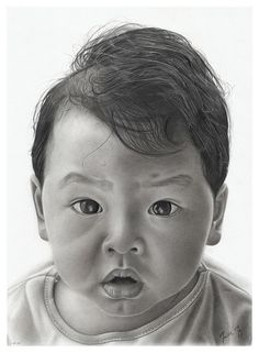 Charcoal Portraits (A portrait of my brother David when he was a baby. Charcoal and graphite pencil drawing on Canson Grain paper.)