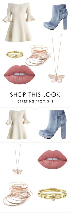 """""""Nude"""" by brunninha-pmr ❤ liked on Polyvore featuring Chicwish, Charlotte Russe, Alex Monroe, Lime Crime, Red Camel and Jennifer Meyer Jewelry"""