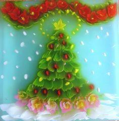 x mas tree art jelly