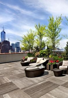 the terrace off the Van Cleeve's penthouse apartment--the site of the first kiss and the subsequent escape. Rooftop Design, Rooftop Terrace, Simpsons, Roof Terraces, Roof Gardens, Penthouse Apartment, Roof Top, Garden Pool, Cityscapes