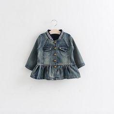2015 Princess Babies Girls Vintage Denim Ruffles Jackets Outwears Pockets Buttons Design Fall Winter Christmas Casual Outwears From Smartmart, $73.22 | Dhgate.Com