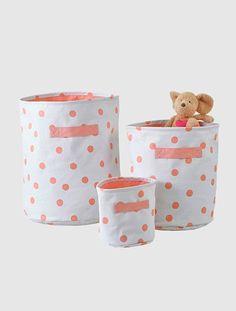 Panier de rangement en tissu POIS ROSE+RAYE JAUNE+TRIANGLE VERT - vertbaudet enfant