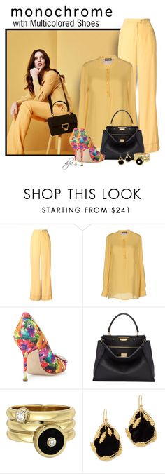 """""""Monochrome Top and Pants with Multicolored Shoes"""" by dgia ❤ liked on Polyvore featuring Coccinelle, N-DUO, Emporio Armani, Manolo Blahnik, Fendi and Aurélie Bidermann"""