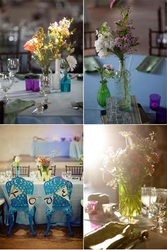 mix of colored vases and wild flowers