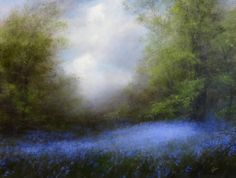 Bluebells and Sky | From a unique collection of landscape paintings at https://www.1stdibs.com/art/paintings/landscape-paintings/