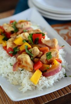 Chicken and Mango {Or Pineapple} Basil Stir Fry- serve with salad.