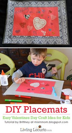Cute DIY Placemats! Easy Valentines Day Paper Craft for Kids.