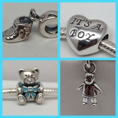 New Pandora Boy Set Charms This is for 4 Brand New Authentic Pandora Charms. 1- Baby Boy Booty 1- it's Boy Heart 1- it's A Boy Bear 1- Boy Dangle Comes in Pandora Pouch or Paper Pandora Box. Both suitable for gifting. No Trades. Please. All Hallmarked and properly stamped. If any questions or concerns please drop me a note. Hard Box Sold Separately. Thanks and Happy Shopping. Oh, if you need anything special just let me know and I will do my best to get you what you want. Pandora Jewelry…
