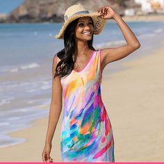 Aurinkoisella rannalla päätä kannattaa suojata hapsureunaisella aurinkohatulla Tankini, Cover Up, Beach, Dresses, Fashion, Vestidos, Moda, The Beach, Fashion Styles