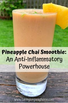 Taking the Long Way Home: Pineapple Chai Smoothie: An Anti-Inflammatory Powe. Taking the Long Way Home: Pineapple Chai Smoothie: An Anti-Inflammatory Powe. Anti Inflammatory Smoothie, Anti Inflammatory Recipes, Smoothie Prep, Chai Smoothie Recipes, Pineapple Smoothie Recipes, Protein Recipes, Healthy Recipes, Drink Recipes, Blackberry Smoothie