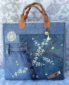 comment faire un sac en jean et le décorer de dentelle, cuir et tampons blancs