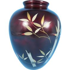 38. Vintage Royal Maruni Lacquerware Porcelain Oxblood Bamboo Vase