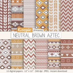 "Aztec digital paper: ""NEUTRAL BROWN AZTEC"" aztec patterns, tribal backgrounds, neutral brown geometric, printable, digital, inkat, triangles..."