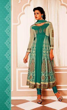 Excellent Turquoise Georgette Anarkali Salwar Kameez Shop Online Krishna Emporia