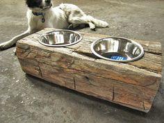 reclaimed wood dog feeder