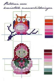 Free Matryoshka and Owl Cross Stitch Chart or Hama Perler Bead Pattern